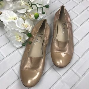 AGL Nude Patent Rose Gold Flats Leather